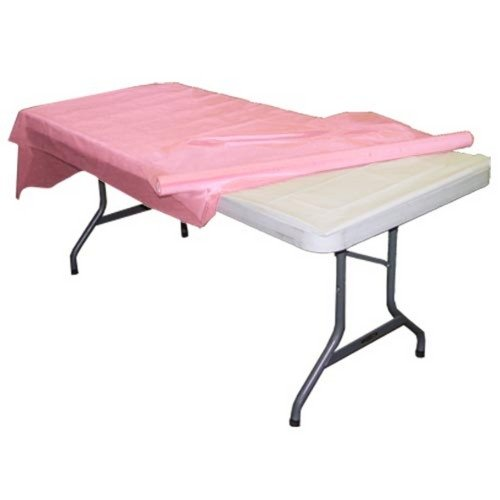 Pink plastic table roll (Pink Disposable Tablecloths)