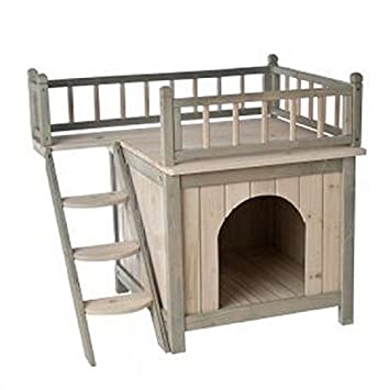 Indoor Wooden Dog / Cat House Den Finished In A Grey And White Colour Is A