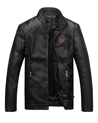 ZhuiKun Negro Cremallera Vintage para Chaqueta De Exteriores Prendas Vestir con de Estilo Hombre Cierre Cuero FrRFw4