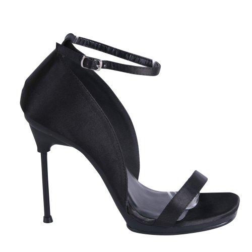 FABULICIOUS , Sandales pour femme Blk Satin/Blk Matte 3 UK