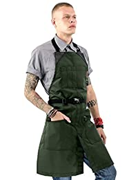 Under NY Sky No-Tie Barber Green Apron - Coated Heavy-Duty Nylon, Water and Chemical Resistant, Zipped Pockets, Split-Leg - Adjustable for Men, Women - Pro Hair Stylist, Colorist, Artist, Bartender