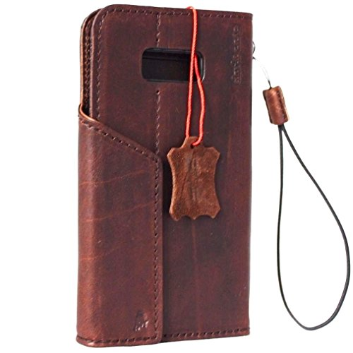 Genuine natural Leather Case for Samsung Galaxy S8 plus Book Wallet Luxury closure Cover S Handmade Retro Id cards slots s 8 classic brown daviscase