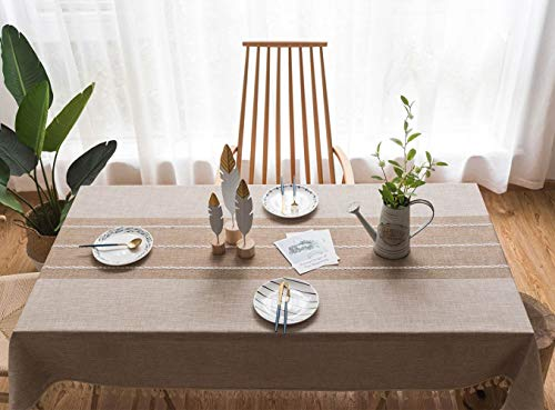 Deep Dream Tablecloths, Stitching Tassel Table Cloth,Cotton Linens Wrinkle Free Anti-Fading,Table Cover Decoration for Kitchen Dinning Party(Rectangle/Oblong, 55''x86'',6-8 Seats, Light Coffee)]()