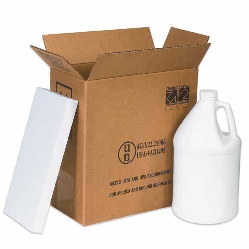 Aviditi HAZ1131 1 Single-Wall Corrugated Gallon Plastic Jug Shipper Kit, 12