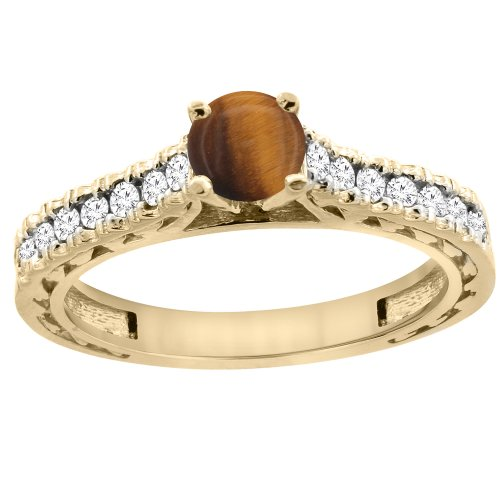 Round Tiger Yellow Gold (14K Yellow Gold Natural Tiger Eye Round 5mm Engraved Engagement Ring Diamond Accents, size 10)
