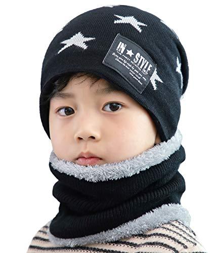 T WILKER 2Pcs Kids Winter Knitted Hats+Scarf Set Warm Fleece Lining Cap for 5-14 Year Old Boys Girls