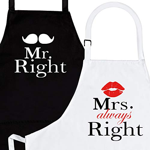Mr. Right and Mrs. Always Right 2-Piece Kitchen Apron Set - Matching Engagement Wedding Anniversary Bridal Shower Gift For Bride -