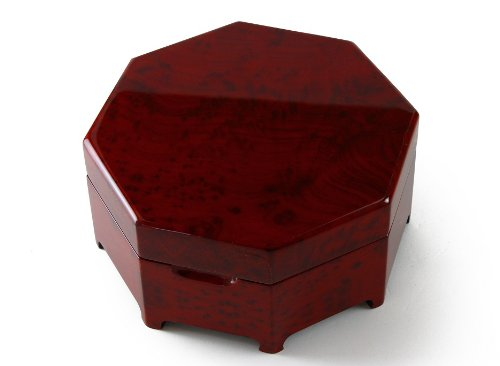 Enchanting Octagonal Zen Inspired Classic Toned Musical Jewelry Box - Three Coins in the - Octagonal Fountain