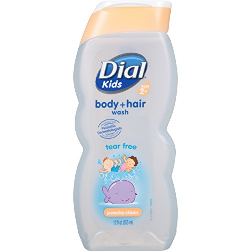 Dial Kids Body + Hair Wash, Peachy Clean Tear Free, 12 Fluid Ounces (Pack of 6)