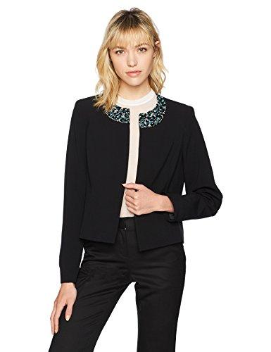 Nine West Women's Crepe Jacket with Embellishmenton Neckline, Black, 2