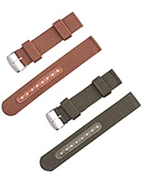 Compatible for Samsung Watch Band Replacement Wristband Strap Nylon Watch Belt Compatible with Samsung Smart Watch 22mm 2pcs (Green+Brown)