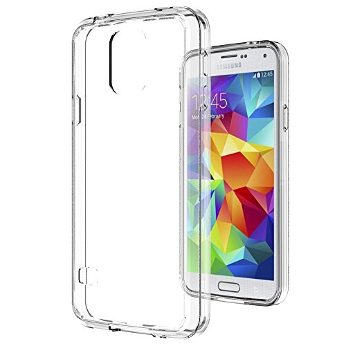AnoKe Acrylic Hard Rubber TPU Bumper Hybrid Scratch Resistant Ultra Slim Fit Case with HD Screen Protector for Samsung Galaxy S5 - Crystal Clear Fits Hard Rubber
