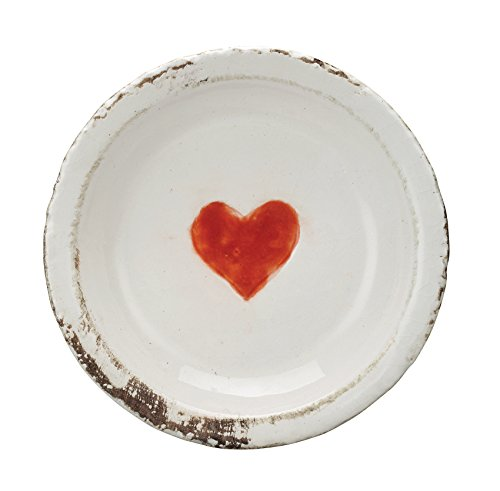 Creative Co-Op Decorative Distressed White Terra Cotta Plate with Red Heart]()