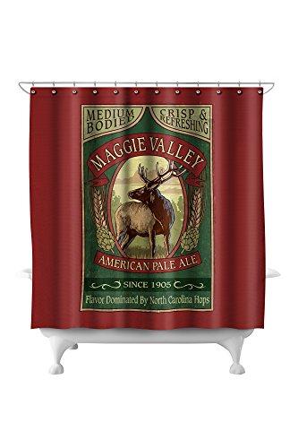 (Maggie Valley, North Carolina - Elk Pale Ale Vintage Sign (71x74 Polyester Shower Curtain))