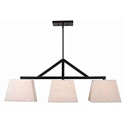 60 Watts Indoor Chandelier | Design Craft Invader 3 Light Island Light Linen