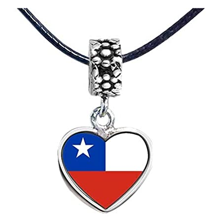 a86b599aa906 Chicforest Silver Plated Chile flag Photo Flower Head Dangle Heart ...