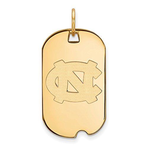 10k Yellow Gold North Carolina Tar Heels School Letters Logo Dog Tag Pendant S - (30 mm x 18 mm)
