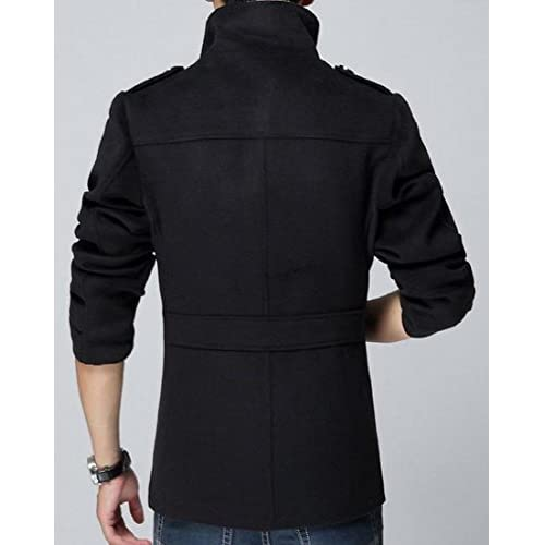 XQS Mens Winter Thicken Stand Collar Single Breasted Woolen Jacket Coat