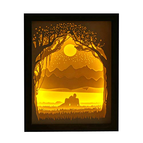 Euone Home, Couple Light Shadow Paper Carved Lights DIY Creative Remote Control Small Night