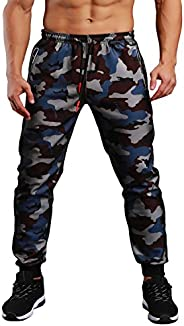 EKLENTSON Men's Closed Bottom Sweatpants Zipper Pockets Drawstring Camo Joggers Pants for Gym Wor