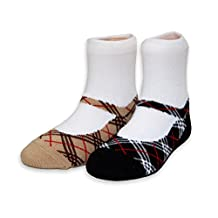 MumMe Big Girls Poppy Plaid Mary Janes Sock Set in Bamboo (2 Pairs) - Youth