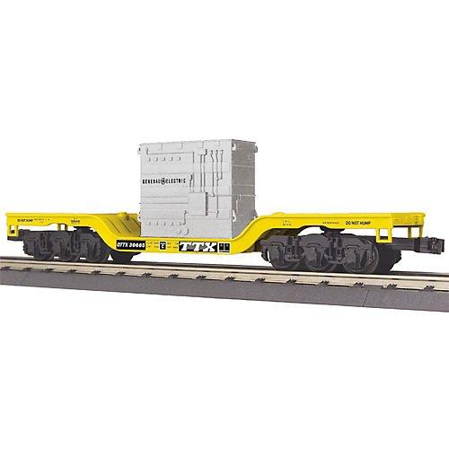 MTH MTH3076579 O-27 Depressed Center Flat w/Transformer, TTX