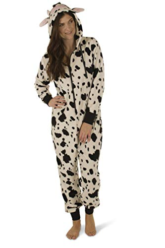 Totally Pink Women's Warm and Cozy Plush Character Onesie (Medium, Cow)]()