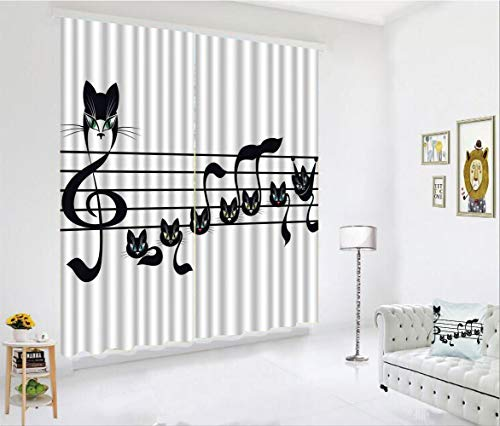 SCOCICI Blackout Curtain Set for Living Room,Cat Artwork Notation Tune Children Halloween,Decor Creative 3D Printed Blackout Window Drape for Bedroom Kids Room Window Treatments(2 Panels) for $<!--$118.88-->