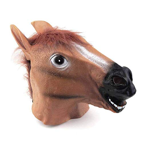 Hisoul Horse Head Mask for Adult, Gangnam Style Durable Latex Animal Costume Cosplay Toy for Any Occasion, Theme Party, Birthday Party ( -