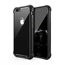 Aitour iPhone 6 Plus Case/iPhone 6s Plus Case, Tempered Glass Back Cover and Soft Silicone Bumper Frame Shock Anti-Scratch Compatible iPhone 6 Plus / 6s Plus, iip39