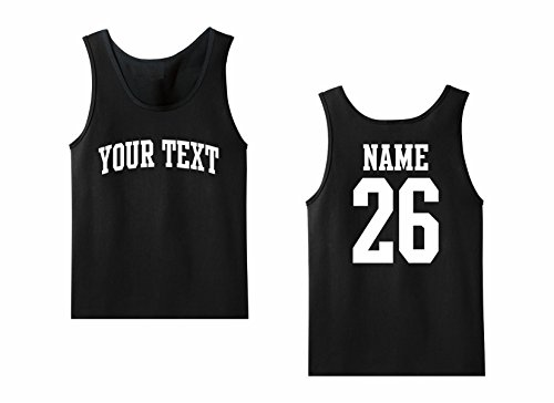 Men's Tank Top Custom Personalized T-shirt, Front Arched text, Back Name & Number