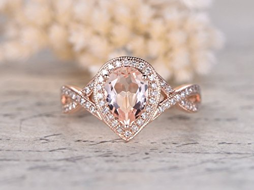 (6x8mm Pear Shape Cut Natural Pink Morganite Engagement Ring Solid 14k Rose Gold Diamond Halo Art Deco Loop Twisted Wedding band Antique Vintage Women Anniversary Gift for Her)