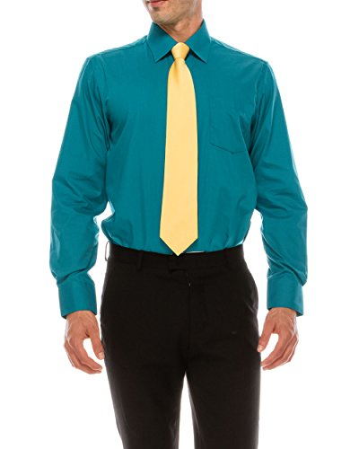 (TrueM Mens Regular Fit Dress Shirt w/Reversible Cuff, 17 Sizes Available (Teal, 4XL-20-36))