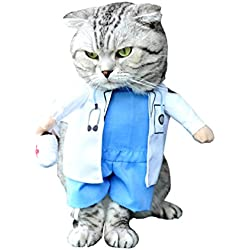 SMALLLEE_LUCKY_STORE Small Dog Doctor Costume Fancy Dress Pet Coat Puppy Clothes Cat Halloween Costume, Small, Blue White