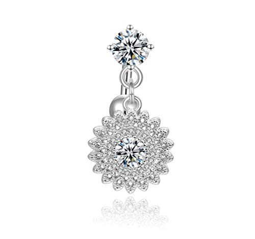 Candyfancy 14G Reverse Belly Button Rings Dangle Surgical Steel Round Flower CZ Navel Ring Naval Piercing ()