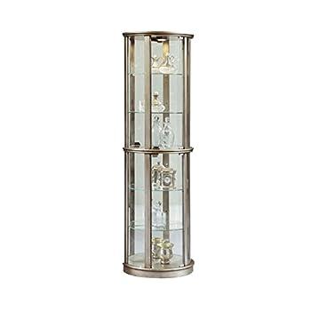 Sofaweb.com Silver Wood Half-Round Curio Cabinet