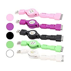 Buy 3 in 1 Retractable Portable USB Sync Data/Charging Cable for iPhone 30Pin/Micro USB/Mini USB , Purple