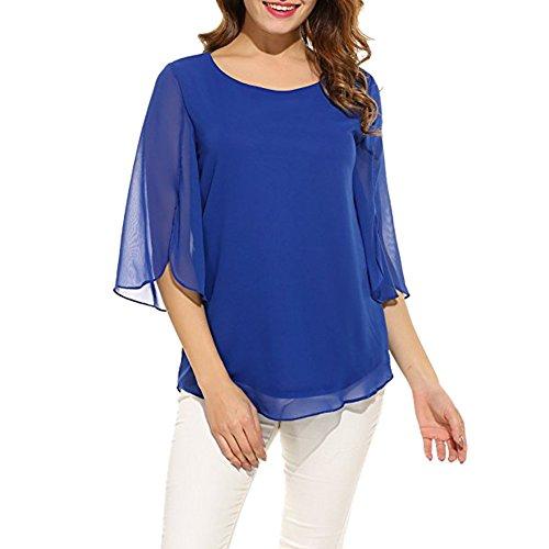 Manche Soie Hauts Casual Tunique Chemise Blouse de Uni Mousseline Courte Shirt Col Bleu Femmes LAEMILIA Rond Simple Chemisier qxpX4wYwf