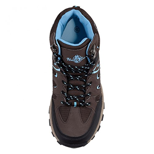 HSM - Botas de senderismo para mujer marrón/azul