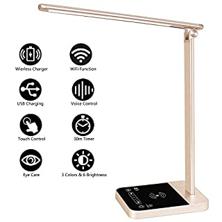 LED Desk Lamp with Fast Wireless Charger, WiFi, Desk Light 6 Brightness Levels 3 Lighting Modes Touch Control USB Port Timer Memory Function, Aasonida Office Table Lamp Works with Alexa Google Home