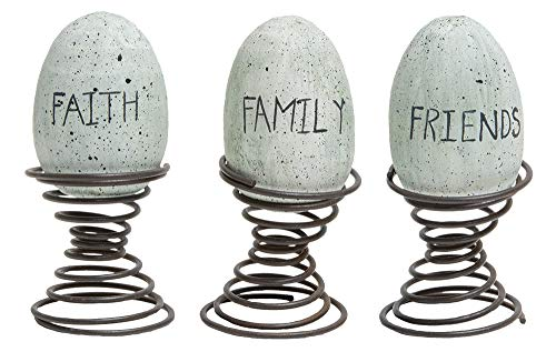 Hearthside Set of 3 Assorted Wooden Eggs on Metal Springs 'Faith Family Friends' ()