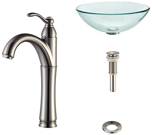 Kraus C-GV-101-12mm-1005SN Clear Glass Vessel Sink and Riviera Faucet Satin Nickel
