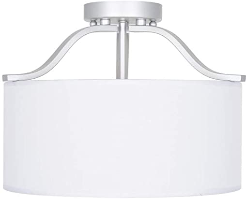 Ravenna Home Classic Fabric Semi-Flushmount Ceiling Pendant Light Fixture with 3 LED Light Bulbs – 15 x 15 x 11.5 Inches, Brushed Nickel