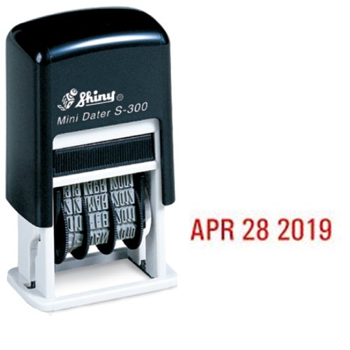 Shiny Self-Inking Rubber Date Stamp - S-300 - RED Ink -