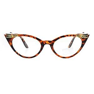 Victorian Art Nouveau Rhinestone Snug Small 20s Cat Eye Glasses Tortoise