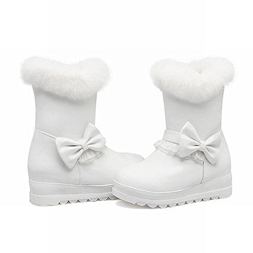Mee Shoes Damen süß Schleife hidden heels Stiefel Weiß