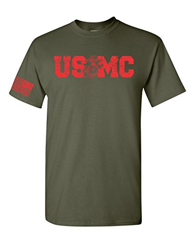 USMC Red Print with Flag on Sleeve Men