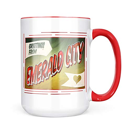 (Neonblond Custom Coffee Mug Greetings from Emerald City, Vintage Postcard 15oz Personalized Name)