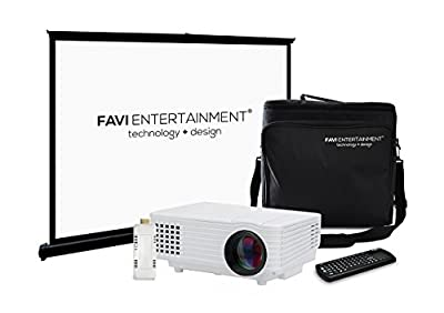 FAVI H1 LED LCD (WVGA) Mini Video Projector Kit, includes 3 items - projector, WiFi SmartStick V4, case - Black