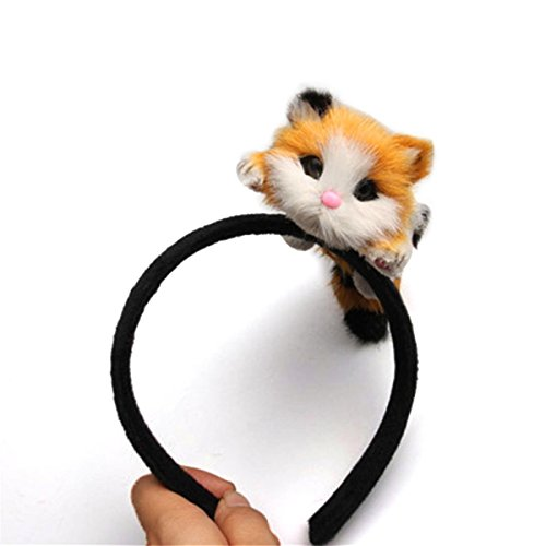 Women Girls 3D Cat Ear Headband Lovely Hair Hoop Kitten HairBand for Halloween Costume Party Cosplay -